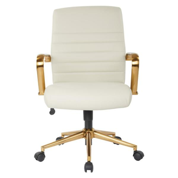OSP Home Furnishings Mid-Back Cream Faux Leather Chair with Gold Arms