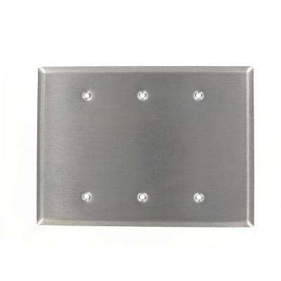 3-Gang No Device Blank Wallplate, Oversized, 302 Stainless Steel, Box Mount, Stainless Steel