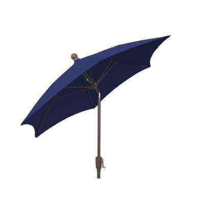 Patio Umbrella With 2 Piece Chanpagne Bronze Pole Tilted And Navy Blue