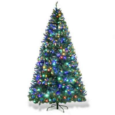 9 ft. Pre-Lit LED Hinged Artificial Christmas Tree with 1000 LED Lights and Stand