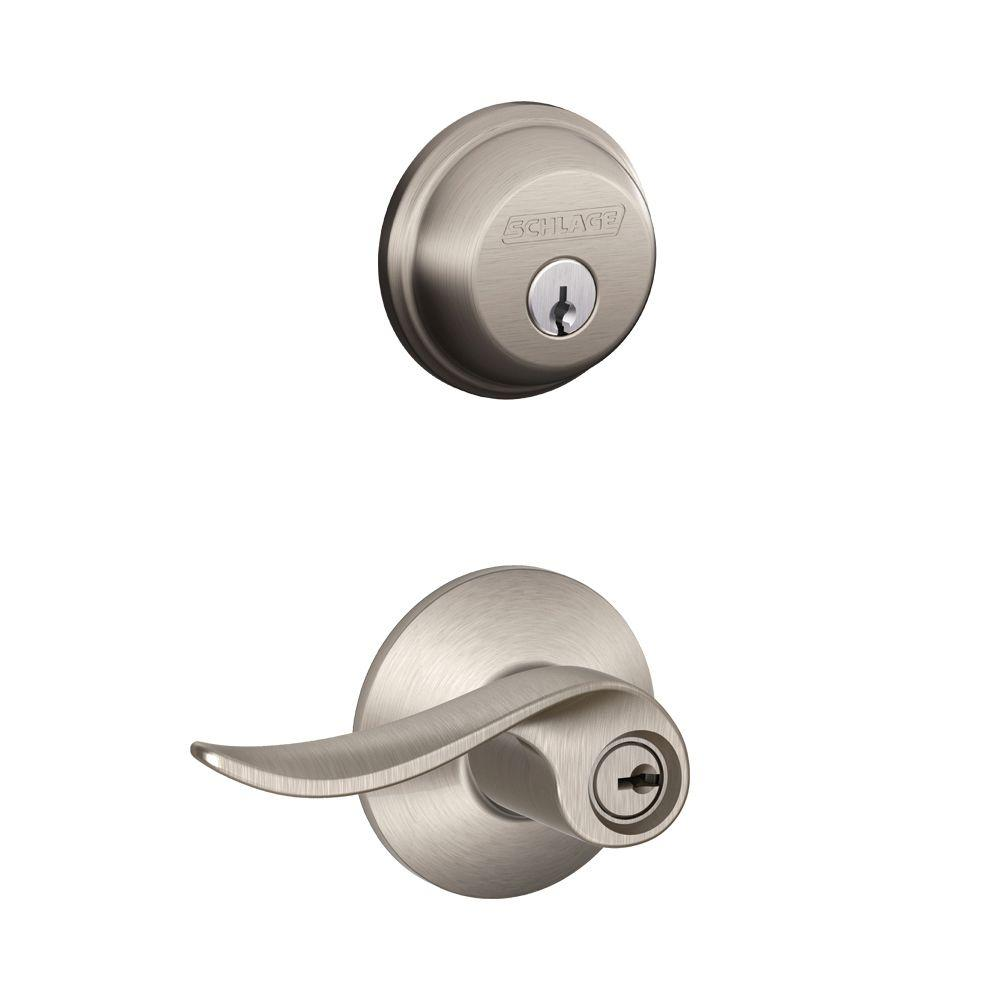 schlage satin nickel single cylinder deadbolt with sacramento entry door lever combo pack fb50n v sac 619 the home depot schlage