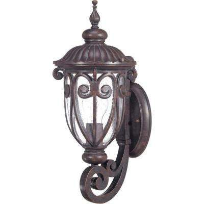 1-Light Outdoor Burlwood Small Wall Lantern Arm Up with Seeded Glass