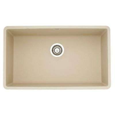 Precis Super Undermount Granite 32 in. 0-Hole Single Bowl Kitchen Sink in Biscotti