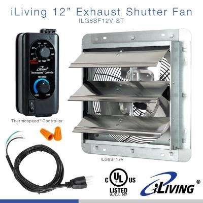 12 in. Shutter Exhaust Fan with Thermospeed Controller, 65-Watt, 960 CFM