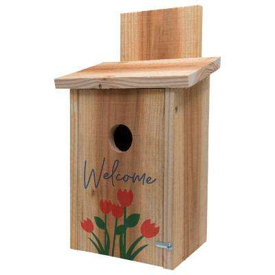Decorative Welcome Tulip Design Cedar Blue Bird House
