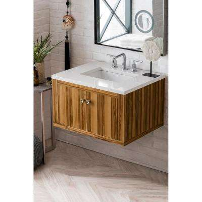 Silverlake 30 in. Single Bath Vanity in Natural Apple Wood with Quartz Vanity Top in Classic White with White Basin