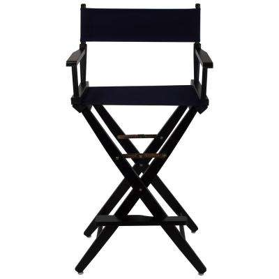 Extra-Wide Black Frame/Navy Canvas American Hardwood 30 in. Directors Chair