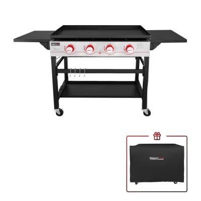 Royal Gourmet 4-Burner Propane Gas Griddle in Black w/ Cover