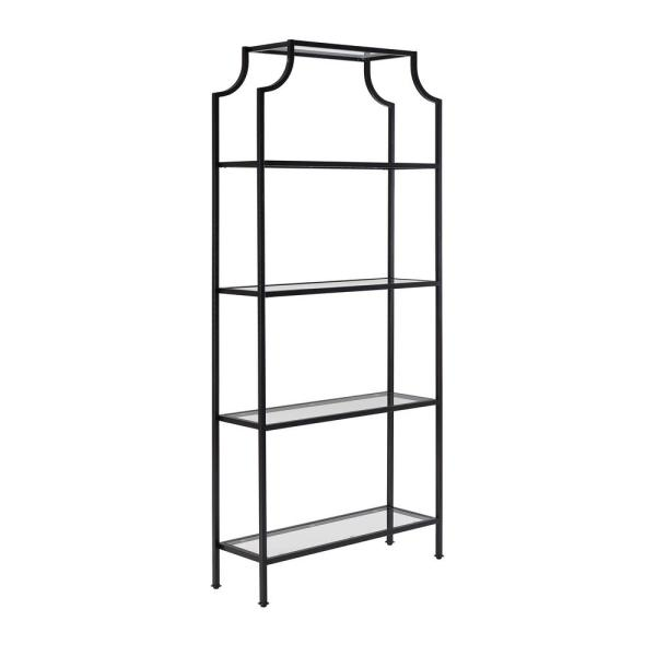 83.38 in. Oil Rubbed Bronze/Clear Metal 4-shelf Etagere Bookcase with Open Back