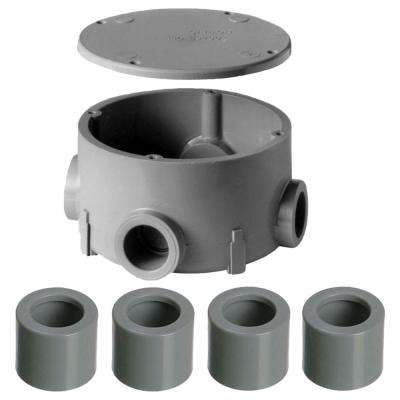 3/4 in. PVC Type-X Round Junction Box with Cover (Case of 5)