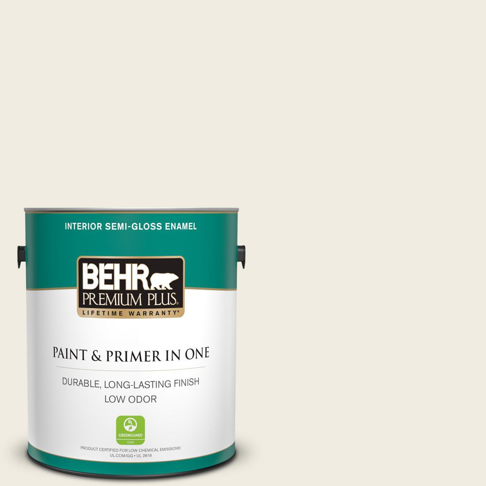 Behr Premium Plus 1 Gal 12 Swiss Coffee Semi Gloss Enamel Low Odor Interior Paint And Primer In One