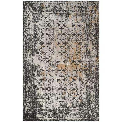 Classic Vintage Black/Silver 4 ft. x 6 ft. Area Rug