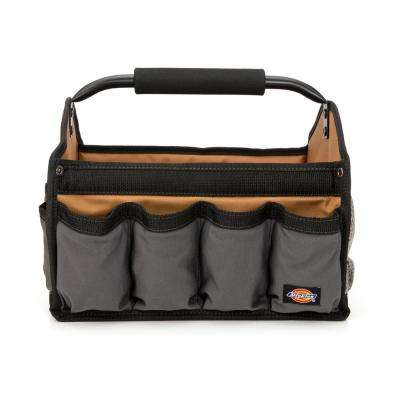 12 in. Soft Sided Construction Work Bin Tool Tote with Padded Steel Handle, Grey/Tan