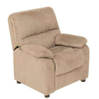 Beige Youth Recliner with Storage Arms and Dual USB