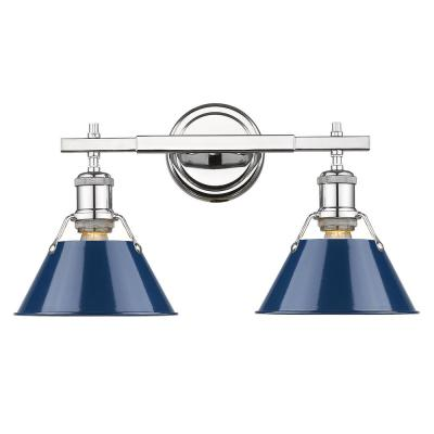 Orwell 2-Light Chrome with Navy Shade Bath Vanity Light