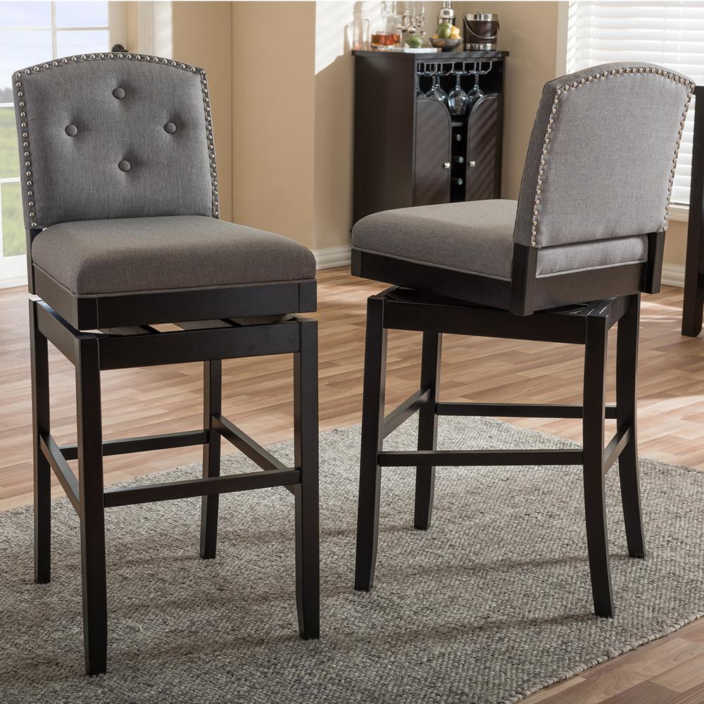 baxton studio ginaro gray fabric upholstered 2 piece bar stool set 2pc 6752 hd the home depot. Black Bedroom Furniture Sets. Home Design Ideas