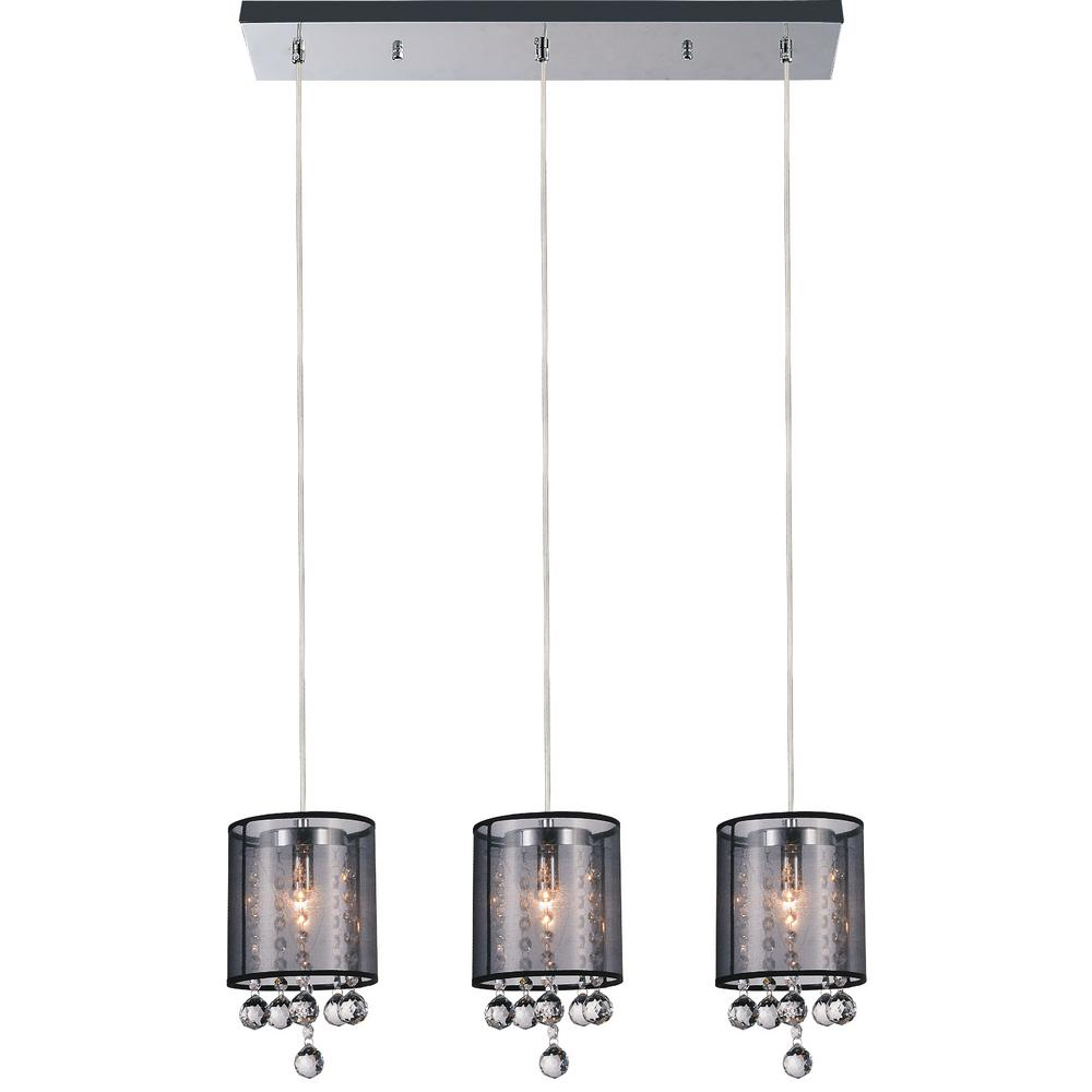 Radiant 3-Light Chrome Chandelier with Black shade
