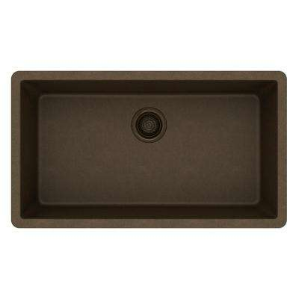 Quartz Classic Undermount Composite 33 in. Single Bowl Kitchen Sink in Mocha