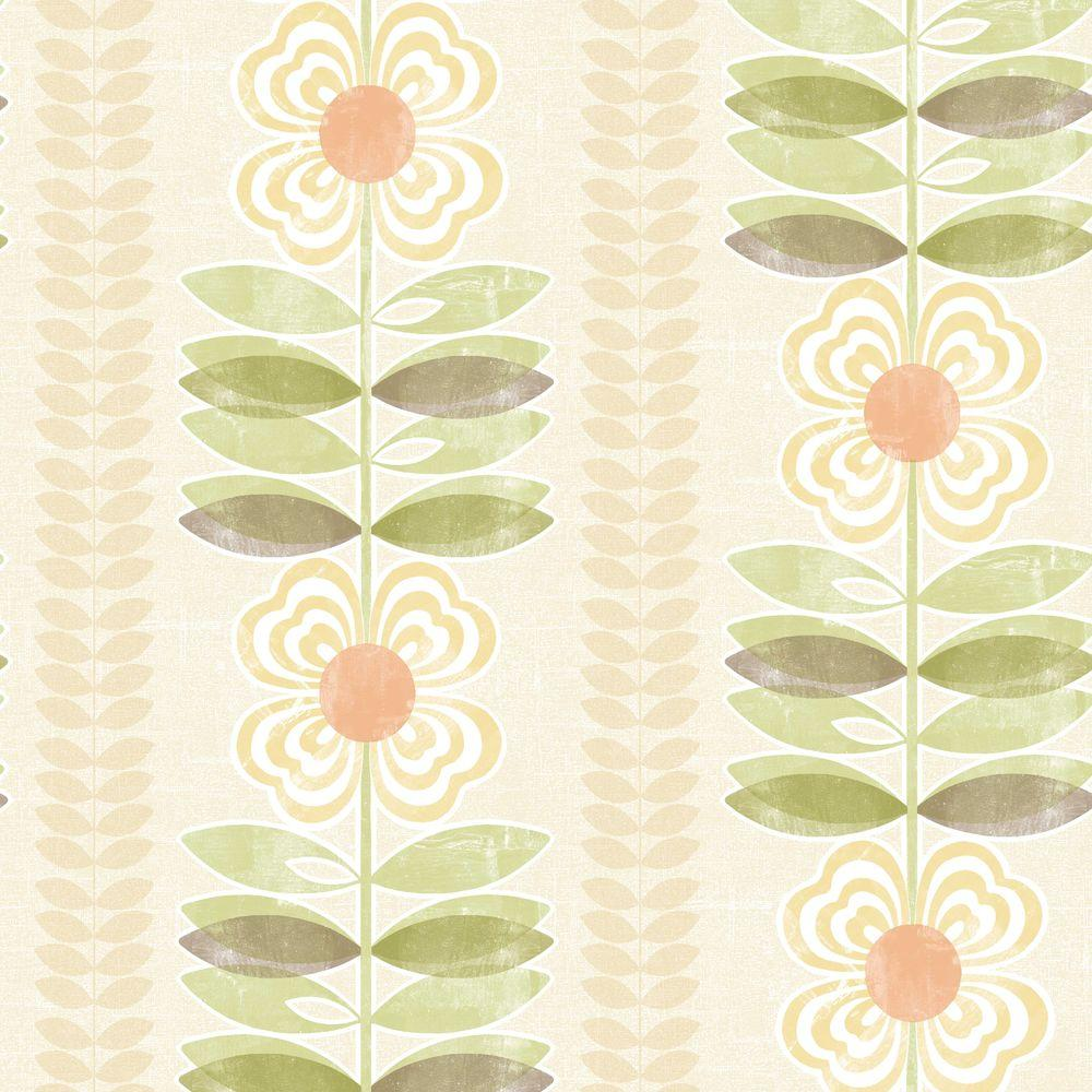 Beacon House Flora Yellow Modern Floral Stripe Wallpaper 2535