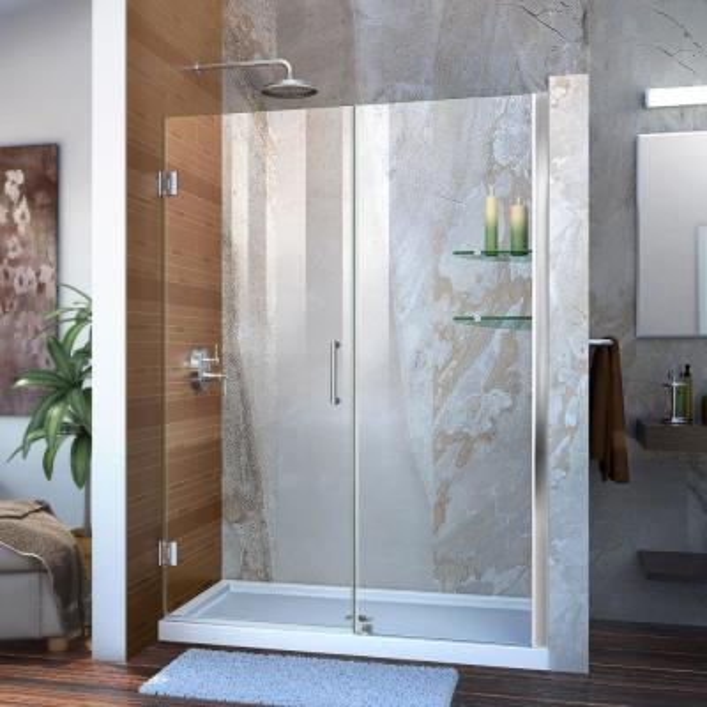 Unidoor 49 to 50 in. x 72 in. Frameless Hinged Shower Door in Chrome