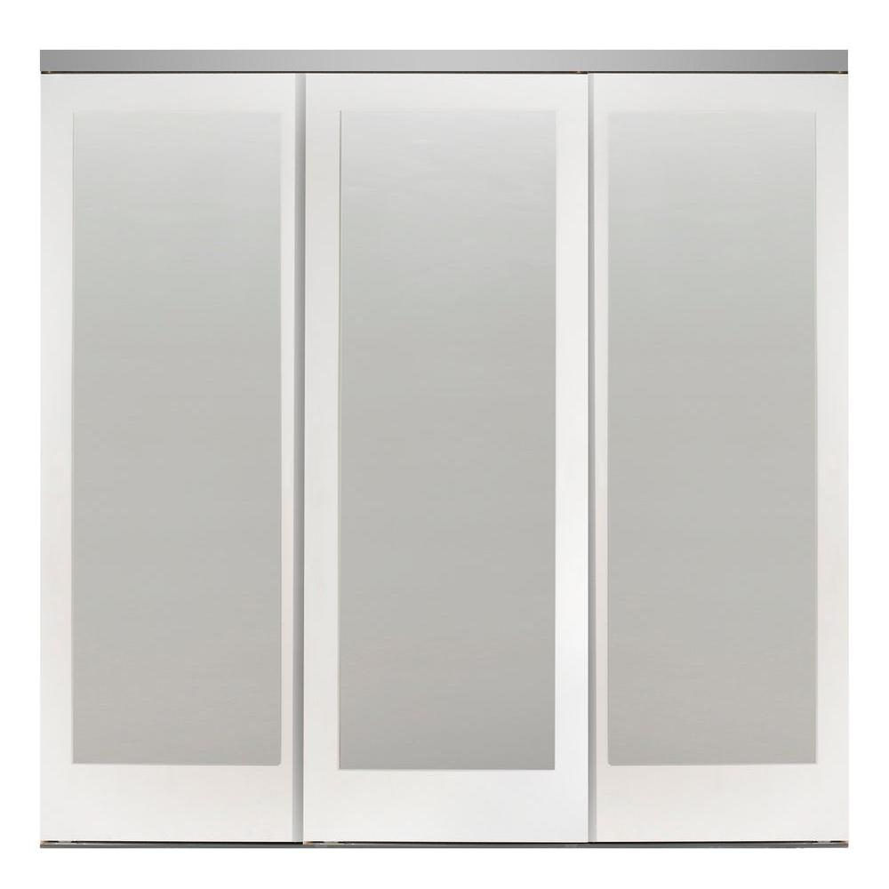 Impact Plus 96 In X 80 In Mir Mel White Mirror Solid Core Mdf Interior Closet Sliding Door With Chrome Trim Smmw343 9680c The Home Depot