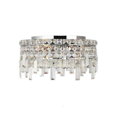 Cascade Collection 4-Light Crystal and Chrome Ceiling Light