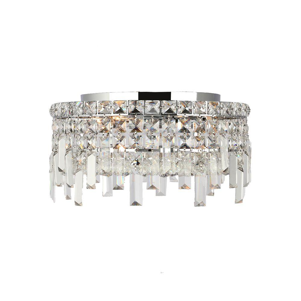 Worldwide Lighting Cascade Collection 4-Light Crystal and Chrome Ceiling Light