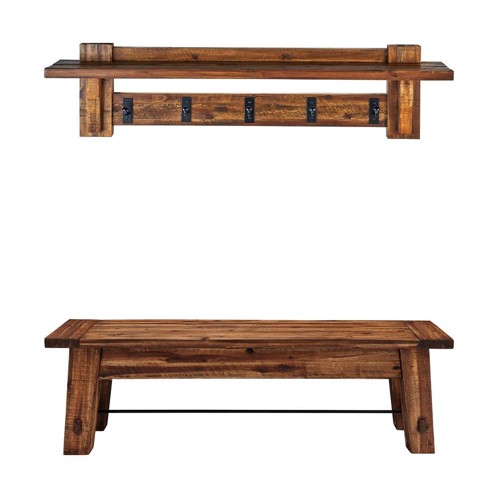 Durango 60 in. Industrial Wood Coat Hook Shelf and Bench Set