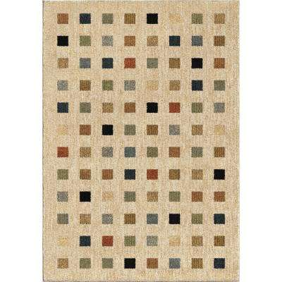City Squares Plush Blocks Beige 5 ft. x 8 ft. Area Rug