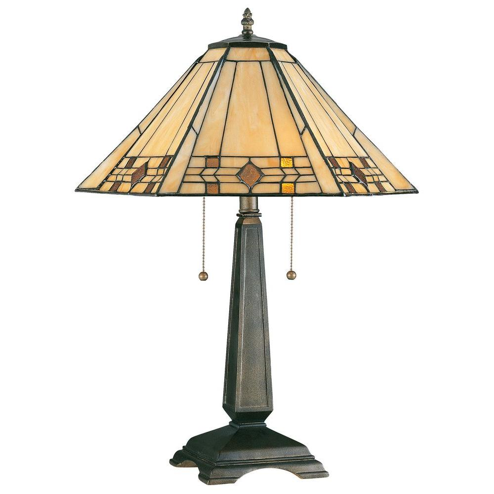 Bronze With Stained Glass Table Lamp