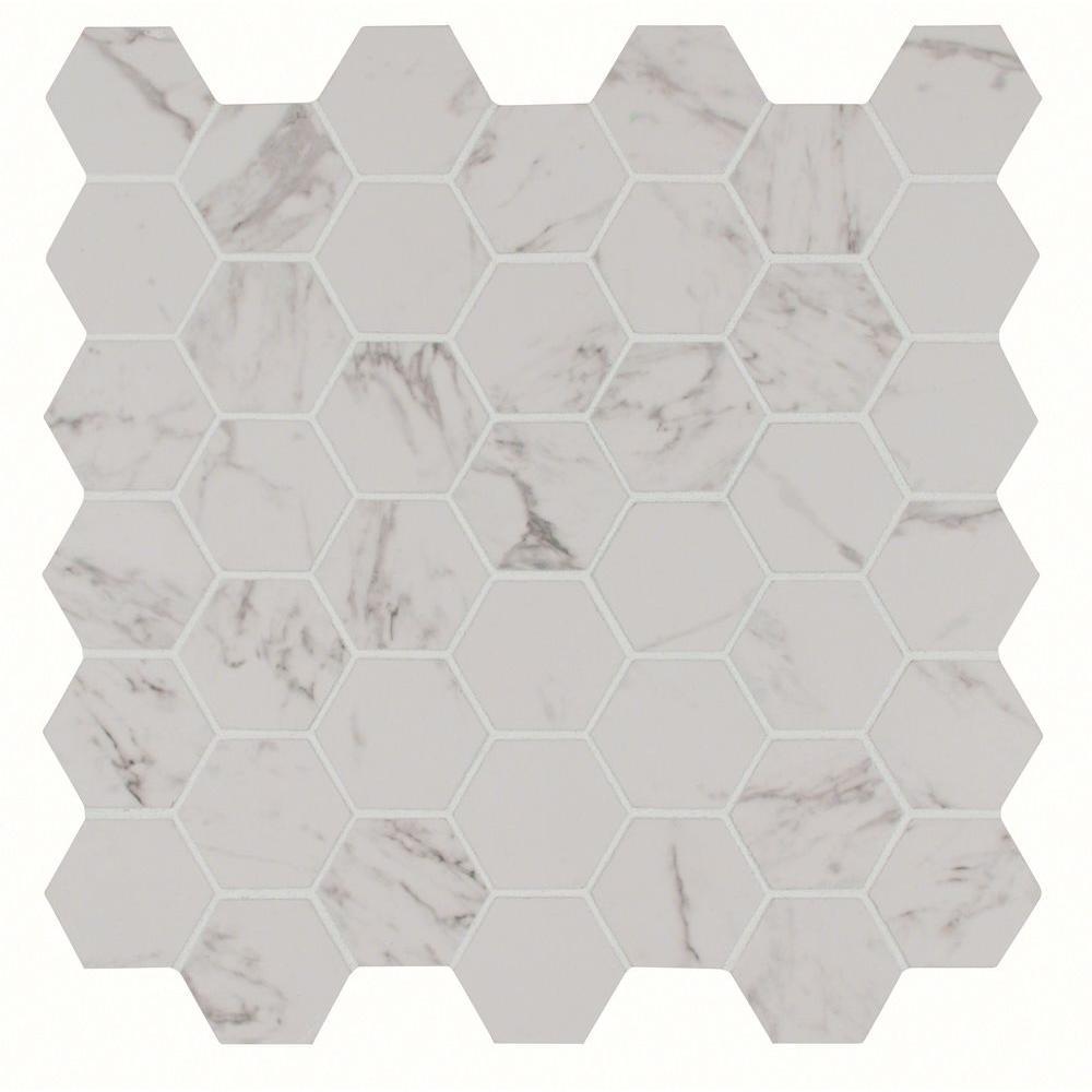 Carrara Hexagon 12 in. x 12 in. x 10 mm Glazed Porcelain Mesh-Mounted Mosaic Tile (8 sq. ft. / case)