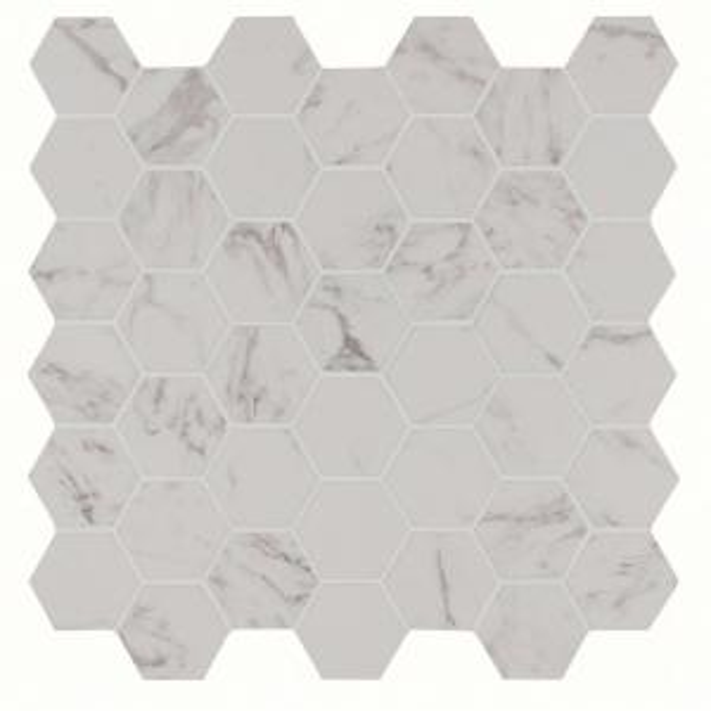 Carrara Hexagon 12 in. x 12 in. x 10mm Glazed Porcelain Mesh-Mounted Mosaic Tile (8 sq. ft. / case)