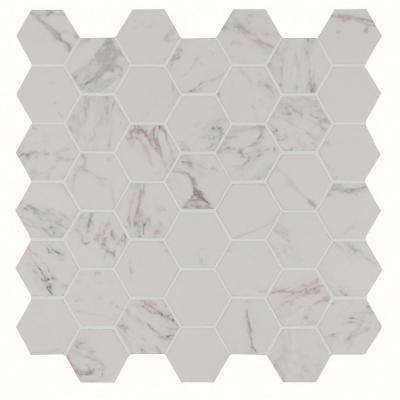Carrara Hexagon 12 in. x 12 in. x 10 mm Glazed Porcelain Mesh-Mounted Mosaic Tile (8 sq. ft. / case)