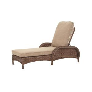 Beacon Park Brown Wicker Outdoor Patio Chaise Lounge with Standard Toffee Trellis Tan Cushions