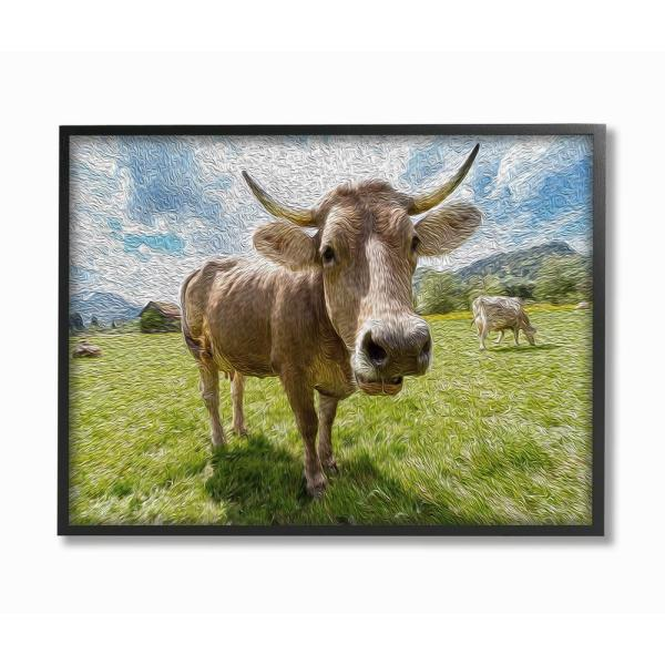 16 in. x 20 in. ''Fish-eye Swirled Look Cows in a Pasture Painting'' by Ricki Rossi Framed Wall Art