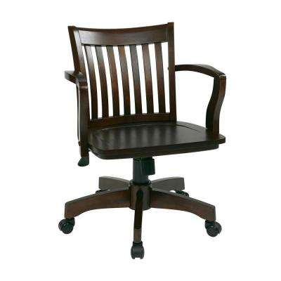 Deluxe Brown Wood Bankers Chair