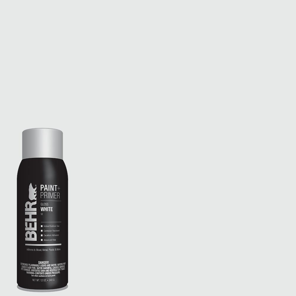 BEHR 12 oz. #52 White Gloss Interior/Exterior Spray Paint and Primer in One Aerosol