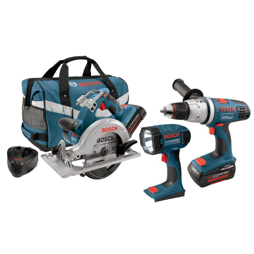 Bosch 36-Volt Lithium-Ion Hammer Drill/Driver, Circular Saw, Flashlight Combo Kit (3-Tool)
