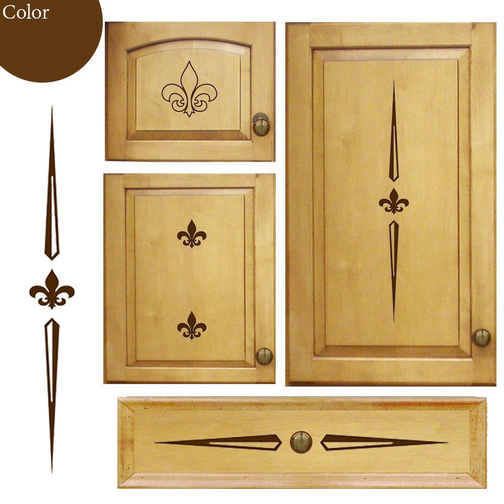 Cabinet Accents Kitchen Cabinet Decorative Decal Stickers with Fleur Theme Chocolate Color