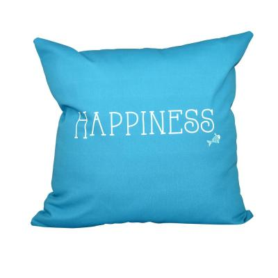 Coastal Happiness Turquoise Geometric 16 in. x 16 in. Throw Pillow