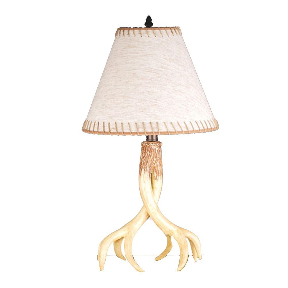 Illumine 1 Light Buckland Table Lamp Jute Trimmed Birch Ivory Horn Finish