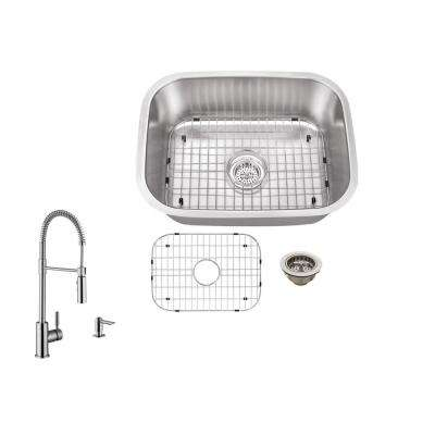 All-in-One Undermount Stainless Steel 24 in. Single Bowl Kitchen Sink with Faucet
