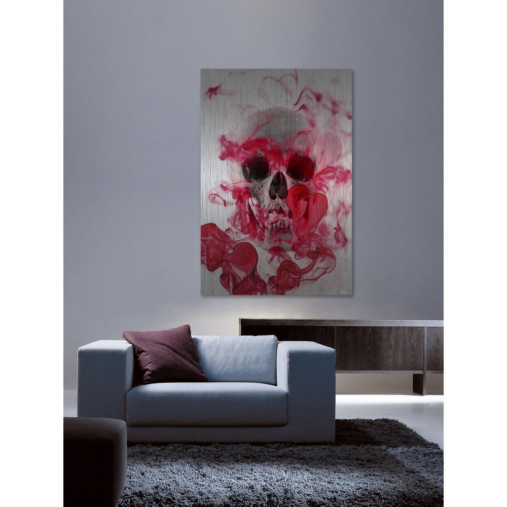 "24 in. H x 16 in. W ""Skull 2"" by Parvez Taj Printed Brushed Aluminum Wall Art"