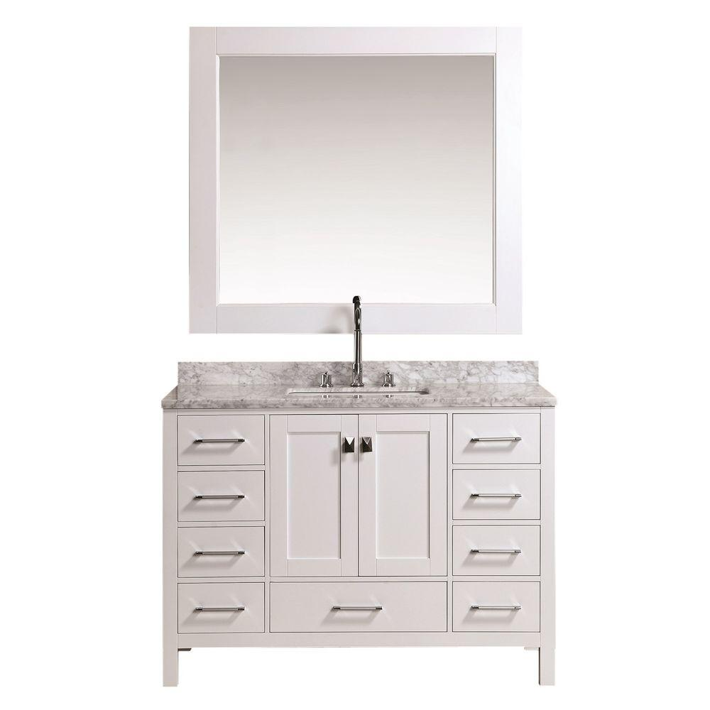 Design Element London 48 in. W x 22 in. D Vanity in White with Marble Vanity Top and Mirror in Carrara White