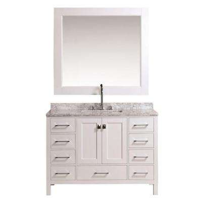 London 48 in. W x 22 in. D Vanity in White with Marble Vanity Top and Mirror in Carrara White