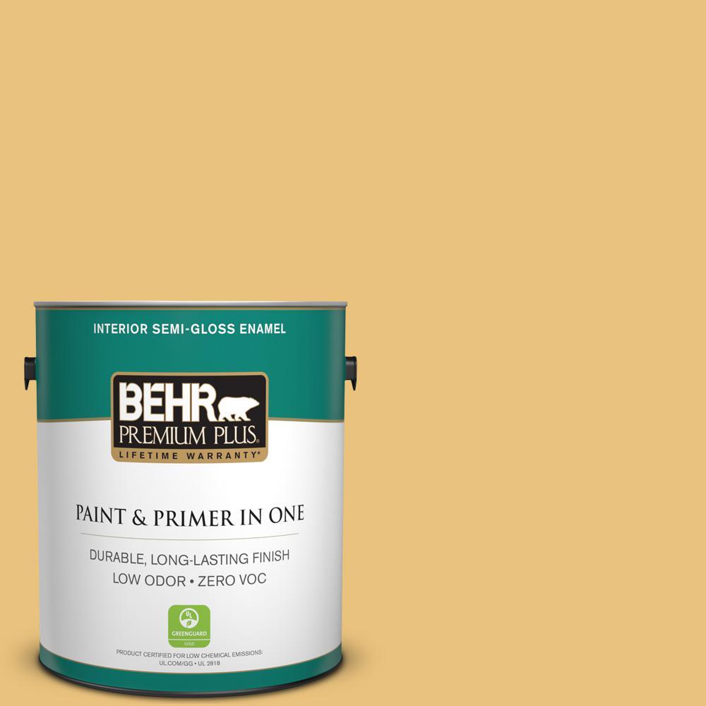 BEHR Premium Plus 1 gal. #MQ4-13 Golden Thread Semi-Gloss Enamel ...