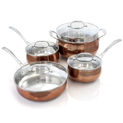 Carabello 9-Piece Copper Stainless Steel Cookware Combo Set