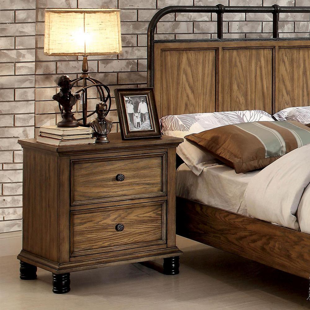 Furniture of America Dael Rustic 2-Drawer Dark Oak ...