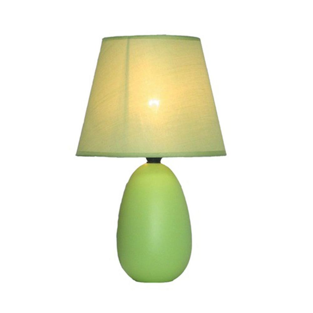 Charming Egg Oval Green Ceramic Table Lamp