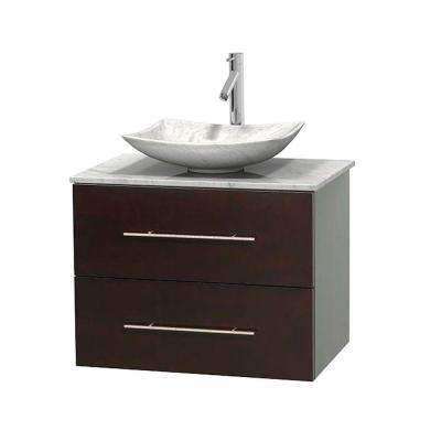 Centra 30 in. Vanity in Espresso with Marble Vanity Top in Carrara White and Sink